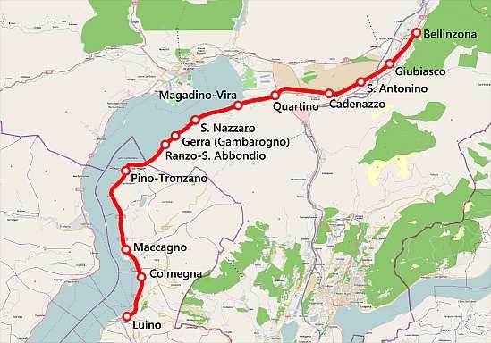 Lago Maggiore Karte.Eisenbahnstrecke Bellinzona Cadenazzo Luino Lago Maggiore Langensee