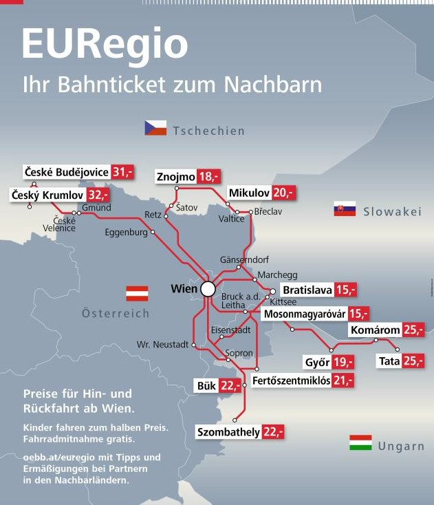 Eisenbahn öbb Euregioticket Abgeschafft österreich Ungarn Slowakei