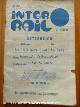 Interrail Ticket 1977 Dr. Michael Populorum