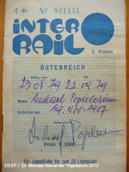 Interrail Ticket 1979 Dr. Michael Populorum