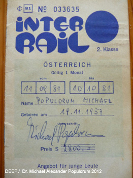 Interrail Ticket 1981 Dr. Michael Populorum